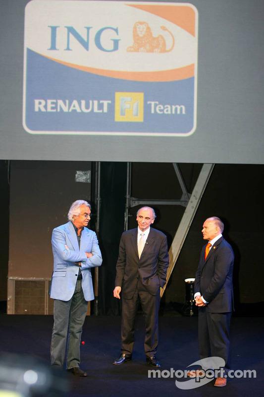Flavio Briatore, Managing Director Renault F1 Team and Alain Dassas, President Renault F1 Team