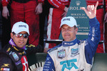 DP Podium: Winners Scott Pruett and Juan Pablo Montoya celebrate