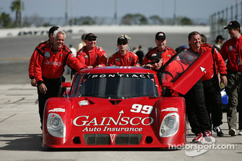 The #99 Gainsco Bob Stallings Racing Pontiac Riley is rolled to the grid