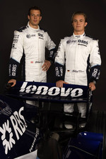 Alexander Wurz and Nico Rosberg pose with the Williams FW29
