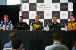 Press conference: Jonathan Summerton, Jonny Reid, Karl Reindler, Ian Dyk and Alan Jones, Seatholder of A1Team Australia