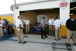 NASCAR officials have a complete inspection of the NAPA Toyota of Michael Waltrip