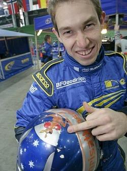 Chris Atkinson with his helmet