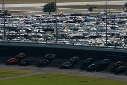 Dale Earnhardt Jr. and Carl Edwards lead the field