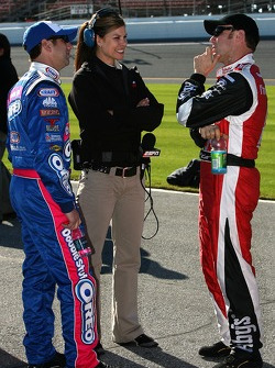 Matt Kenseth, ESPN's Jamie Little and Greg Biffle
