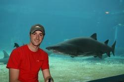 James Hinchcliffe at the Ushaka Marine World Shark tank