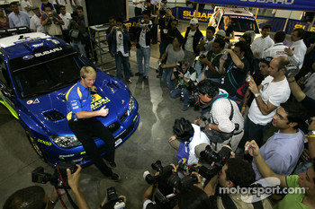 Subaru Impreza WRC2007 launch: Petter Solberg with the new Impreza WRC2008