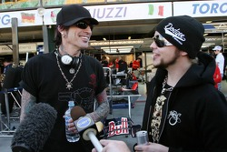 Tommy Lee, Former drummer of metal band Motley Crue, with Lukas Rossi, Lead singer of