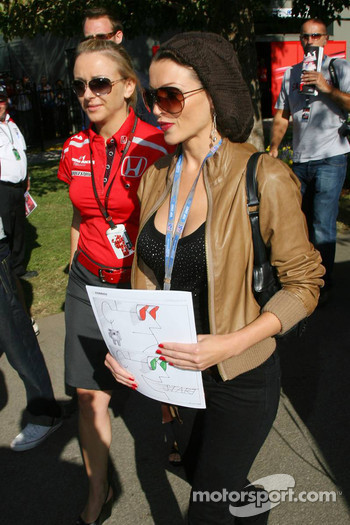 Dannii Minogue Australian pop-singer and Jules Kulpinski, Personal-Assistant to Jenson Button