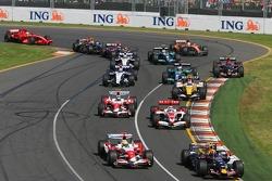 Mark Webber, Red Bull Racing, RB3, Ralf Schumacher, Toyota Racing, TF107, Takuma Sato, Super Aguri F1, SA07