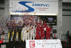 Class winners podium: P1 and overall winners Emanuele Pirro, Marco Werner and Frank Biela, P2 winners Bryan Herta, Dario Franchitti and Tony Kanaan, GT1 winners Oliver Gavin, Olivier Beretta and Max Papis, GT2 winners Mika Salo, Jaime Melo and Johnny Mowl