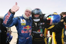 Race winner Christophe Bouchut celebrates with Philipp Peter