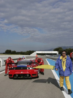#96 Virgo Motorsport Ferrari F430 GT: Robert Bell, Allan Simonsen at pit exit