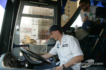 Malacca, Malaysia, Robert Kubica drives the shuttle-bus