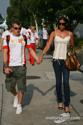 Kimi Raikkonen Scuderia Ferrari and wife Jennie
