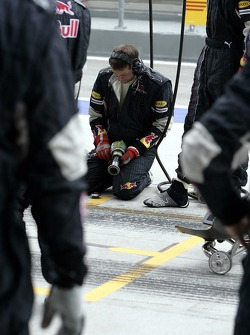 A Red Bull Racing pit crew member