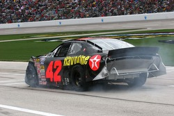 Juan Pablo Montoya suffers damage after hitting the wall