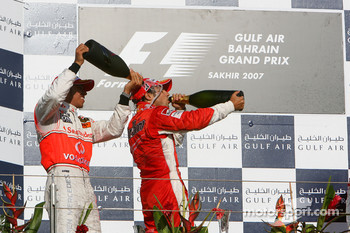 Podium: race winner Felipe Massa with Lewis Hamilton