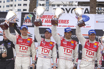 P1 podium: class winners Rinaldo Capello and Allan McNish, second place Emanuele Pirro and Marco Werner
