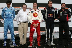 Podium: race winner Sébastien Bourdais with Graham Rahal and Robert Doornbos