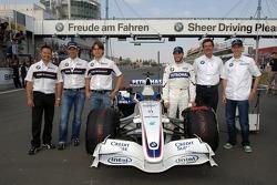 Andy Priaulx, Jorg Muller, Augusto Farfus, Nick Heidfeld, Dr Mario Theissen and Sebastian Vettel