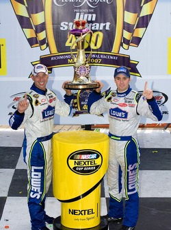 Victory lane: race winner Jimmie Johnson celebrates with Chad Knaus