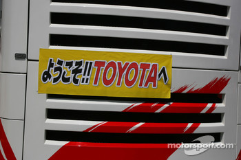A Toyota banner on the motorhome