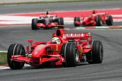 Felipe Massa, Scuderia Ferrari, F2007 leads Lewis Hamilton, McLaren Mercedes, MP4-22