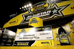 Victory lane: the winning check