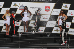 Podium: Race winner Will Power, Team Penske Chevrolet, second place Graham Rahal, Rahal Letterman Lanigan Racing and third place Juan Pablo Montoya, Team Penske Chevrolet