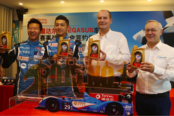 Remy Brouard, Pegasus Racing sports marketing manager and Patrice Devemy, managing director of Total Lubricants China and drivers Ho-Pin Tung, David Cheng