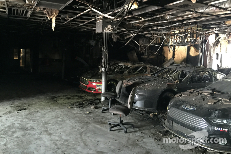 The burnt remains of the Leavine Family Racing shop