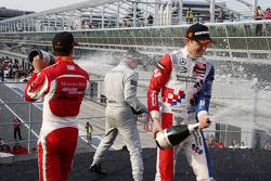 Podium: third place Mikkel Jensen, Mücke Motorsport and winner Felix Rosenqvist and second place Jake Dennis, Prema Powerteam