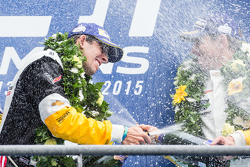 LMGT Pro podium: class winner #64 Corvette Racing Corvette C7.R: Jordan Taylor celebrates with champagne