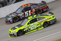 Paul Menard, Richard Childress Racing Chevrolet and Justin Allgaier, HScott Motorsports Chevrolet