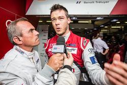 #7 Audi Sport Team Joest Audi R18 e-tron quattro: Andre Lotterer, Benoit Tréluyer interviewed by Eric Hélary