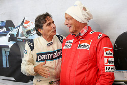 Nelson Piquet, and Niki Lauda, Mercedes Non-Executive Chairman at the Legends Parade