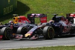 Daniil Kvyat, Red Bull Racing RB11 en Max Verstappen, Scuderia Toro Rosso STR10