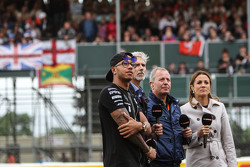 Lewis Hamilton, Mercedes AMG F1 with Damon Hill, Sky Sports Presenter; Martin Brundle, Sky Sports Commentator; and Natalie Pinkham, Sky Sports Presenter