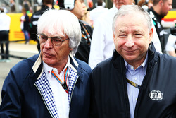 Bernie Ecclestone, with Jean Todt, FIA President on the grid