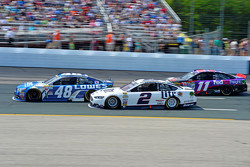 Jimmie Johnson, Hendrick Motorsports Chevrolet, Brad Keselowski, Team Penske Ford and Denny Hamlin, Joe Gibbs Racing Toyota