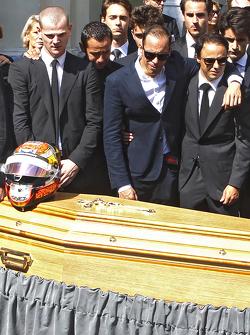 Pastor Maldonado and Felipe Massa attend the funeral of Jules Bianchi in Nice, France