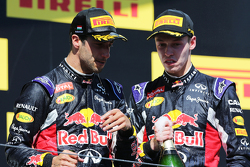 (L to R): third placed Daniel Ricciardo, Red Bull Racing with second placed team mate Daniil Kvyat, Red Bull Racing on the podium
