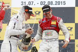 Second place Pascal Wehrlein, HWA AG Mercedes and race winner Miguel Molina, Audi Sport Team Abt