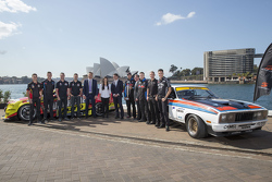 NSW Premier Mike Baird with the drivers of V8 Supercars
