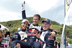 Winners Sébastien Ogier, second place Jari-Matti Latvala, third place Andreas Mikkelsen, Volkswagen Motorsport