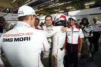 Pole winning #18 Porsche Team Porsche 919 Hybrid: Romain Dumas, Neel Jani, Marc Lieb and team principal Andreas Seidl
