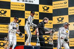 Podium, 2nd Marco Wittmann, BMW Team RMG BMW M4 DTM, 1st Pascal Wehrlein, HWA AG Mercedes-AMG C63 DTM, 3rd Bruno Spengler, BMW Team MTEK BMW M4 DTM
