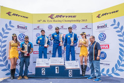 Race 2 winner Karminder Singh, second place Ishaan Dodhiwala, third place Anindith Reddy Konda