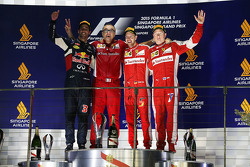 Podium: winner Sebastian Vettel, Ferrari, second place Daniel Ricciardo, Red Bull Racing, third place Kimi Raikkonen, Ferrari